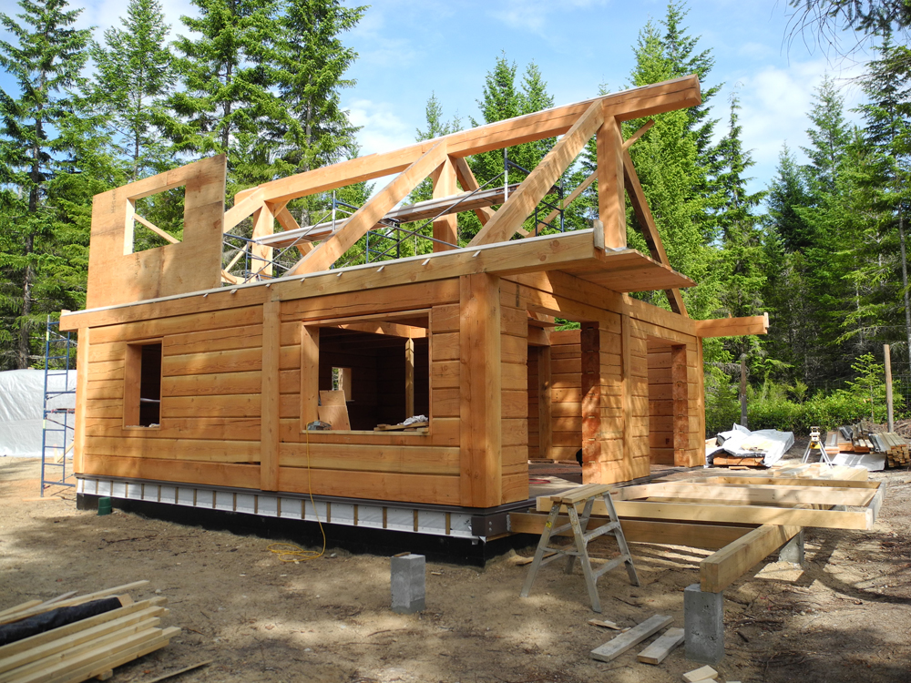 Gulf islands log cabin update tamlin homes timber for Log a frame cabins